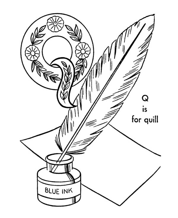 Letter Q, : Quill for Alphabet Letter Q Coloring Page