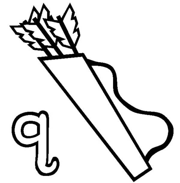 Letter Q, : Quiver for Letter Q Letter Q Coloring Page