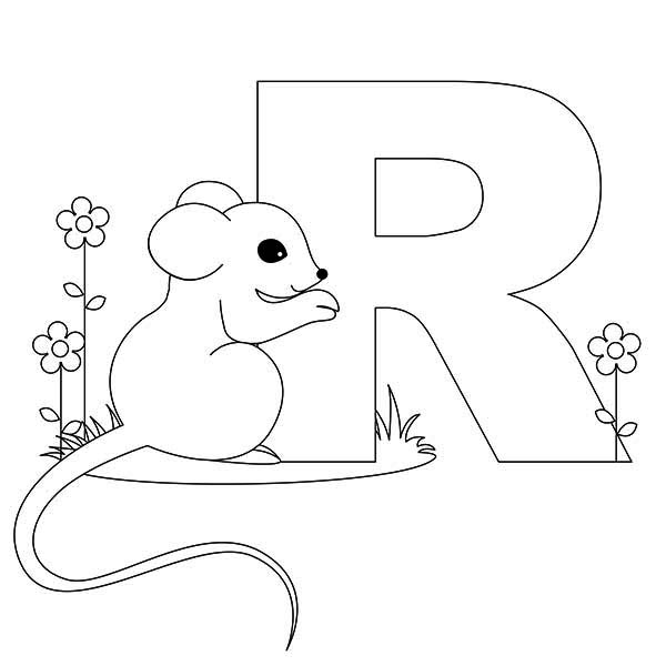 Letter R, : Rat is for Learn Letter R Coloring Page