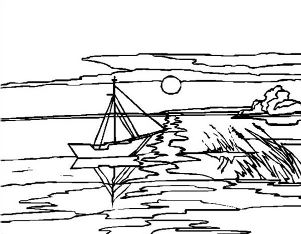 Landscapes, : River Landscapes Coloring Pages