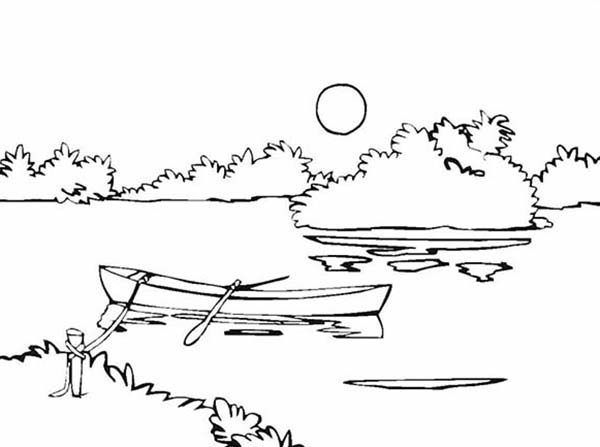 Landscapes, : Riverside Landscapes Coloring Pages