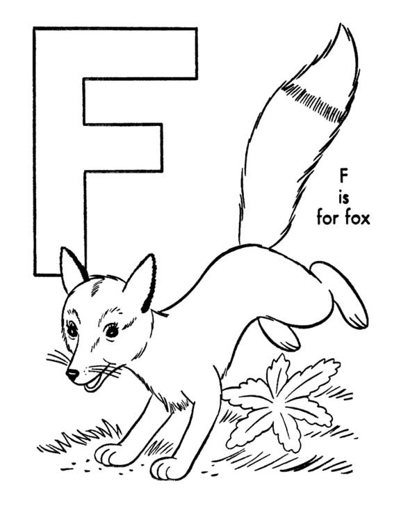 Letter F, : Running Fox for Learn Letter F Coloring Page