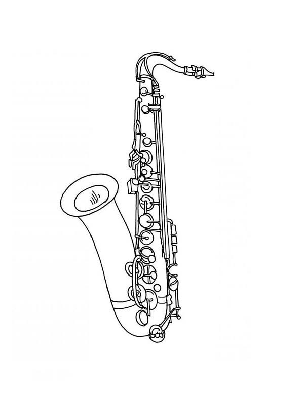 Musical Instruments, : Saxophone is a Musical Instruments Coloring Pages