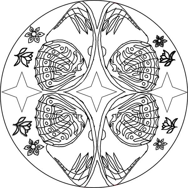 Mandala Animal, : Sea Clams Mandala Animal Coloring Pages