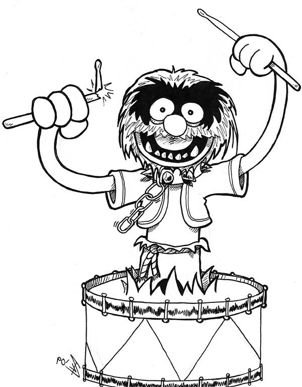 The Muppets, : Sgt Floyd Pepper Playing Drum Until Broke His Stick The Muppets Coloring Pages