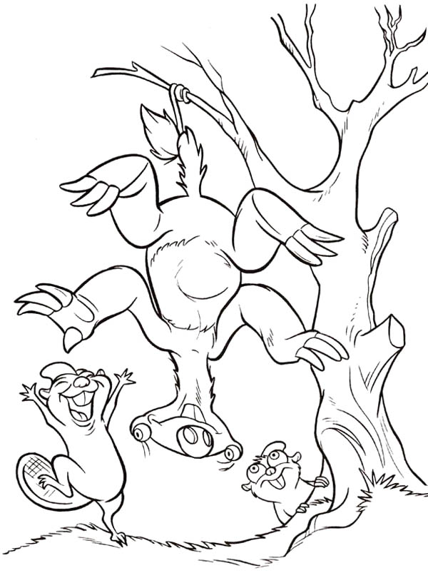 Ice Age, : Sid Hanging on Tree Using His Tail in Ice Age Coloring Pages