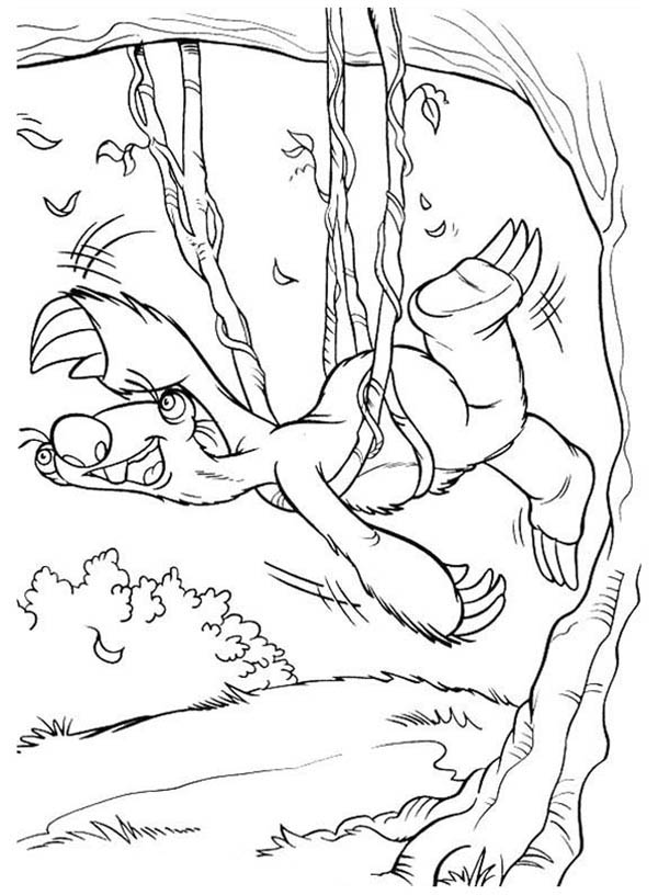 Ice Age, : Sid Try to Escape from Tree Rope in Ice Age Coloring Pages