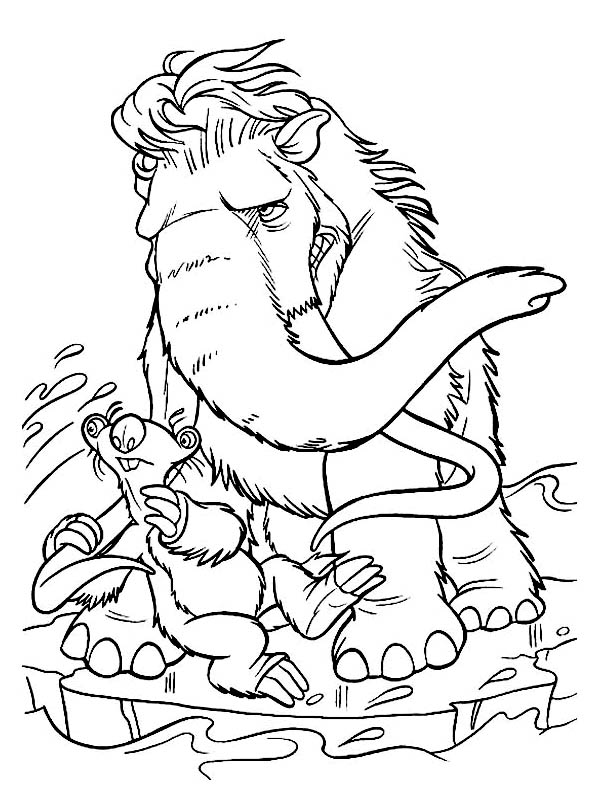 Ice Age, : Sid and Mannie Fight Cold Wind in Ice Age Coloring Pages