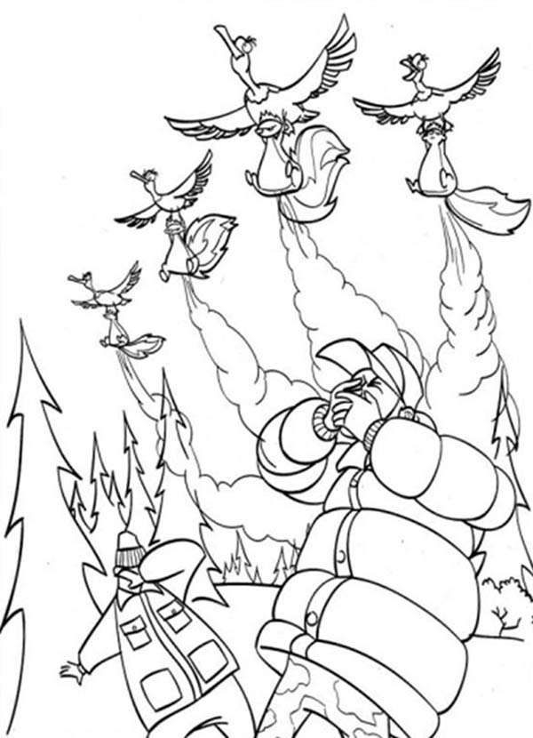Oliver and Company, : Skunk Attack the Hunters with Bad Smells in Open Season Coloring Pages