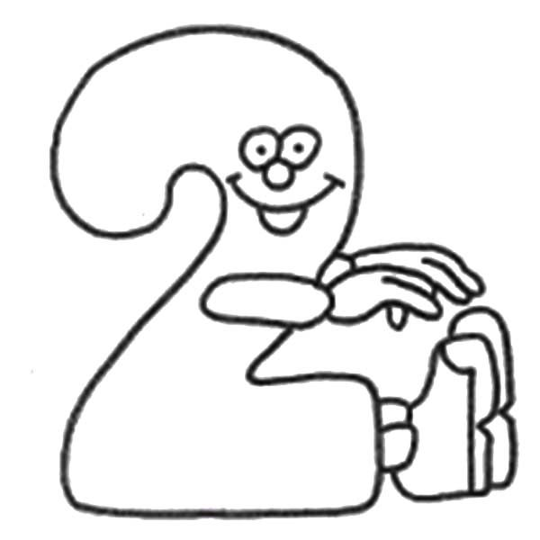 Number 2, : Smiling Number 2 Coloring Page