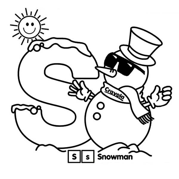 Letter S, : Snow is for Learn Letter S Coloring Page