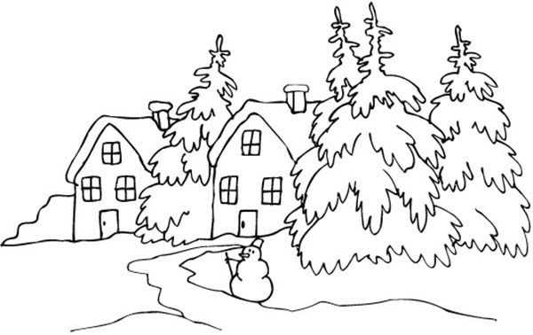 Landscapes, : Snowy Village Landscapes Coloring Pages