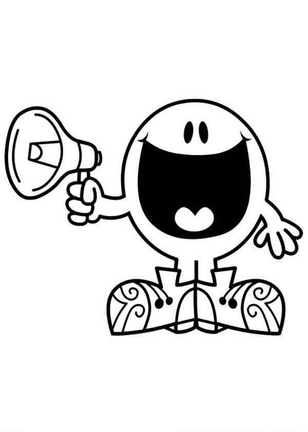 Mr Men and Little Miss, : Speak with Megaphone in Mr Men and Little Miss Coloring Pages