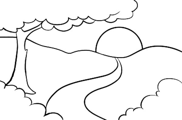 Landscapes, : Sunrise on Top of Mountain Landscapes Coloring Pages
