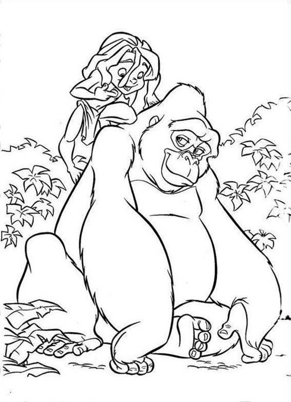 King Kong, : Tarzan and Kerchak the King Kong Coloring Pages