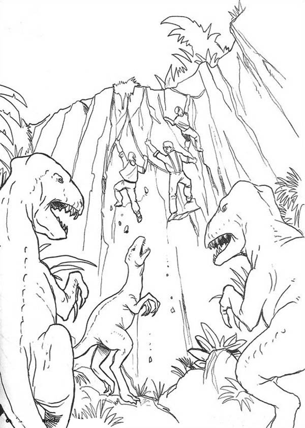 King Kong, : The Explorers Hunt by Dinosaurs in King Kong Coloring Pages