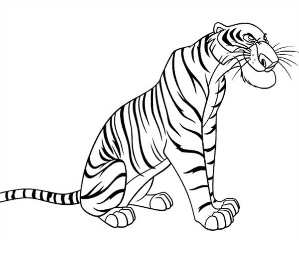 Jungle Book, : The Ferocious Shere Khan from Jungle Book Coloring Pages