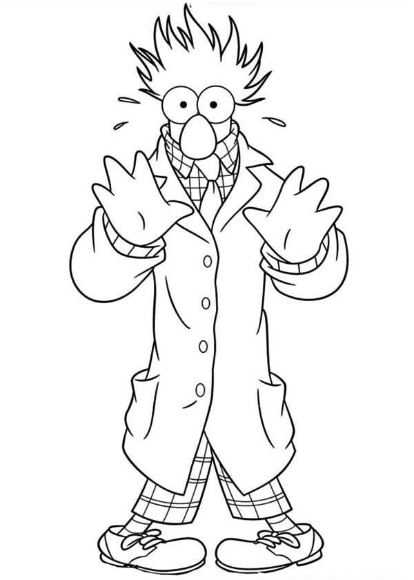 The Muppets, : The Muppets Beaker Try to Hide Behind Coat Coloring Pages