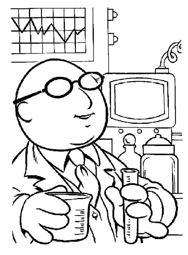 The Muppets, : The Muppets Dr Bunsen Honeydew Working in His Lab Coloring Pages