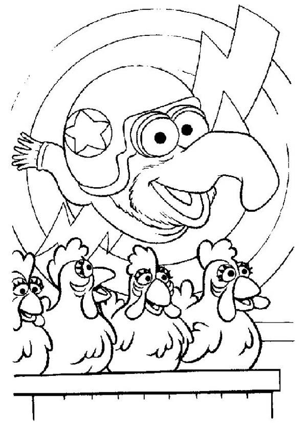 The Muppets, : The Muppets Four Chickens Flyers Coloring Pages