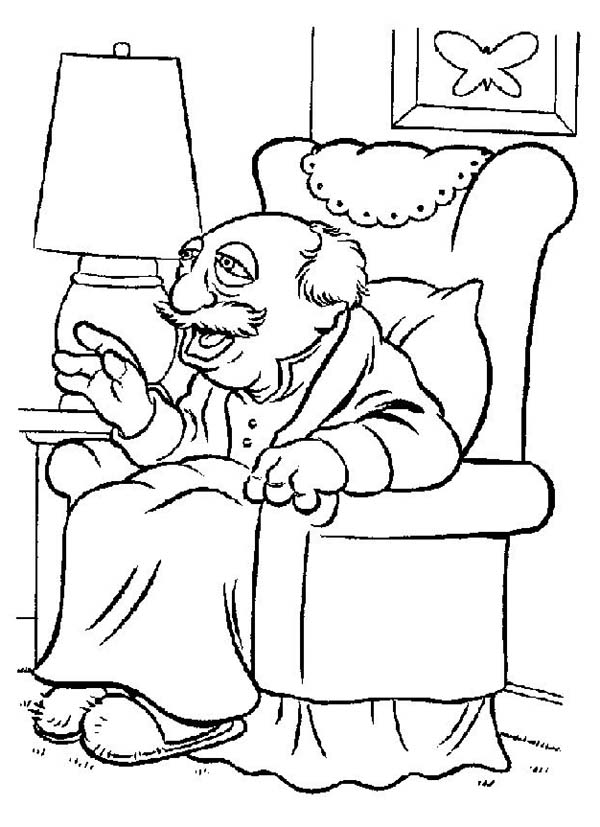 The Muppets, : The Muppets Mr Waldorf Sitting on Couch Coloring Pages