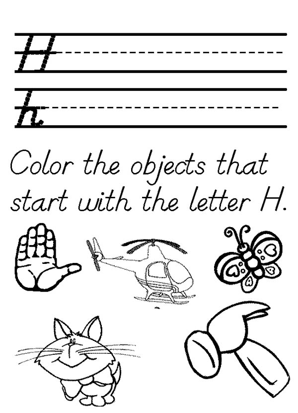 Letter H, : The Objects That Start with the Letter H Coloring Page