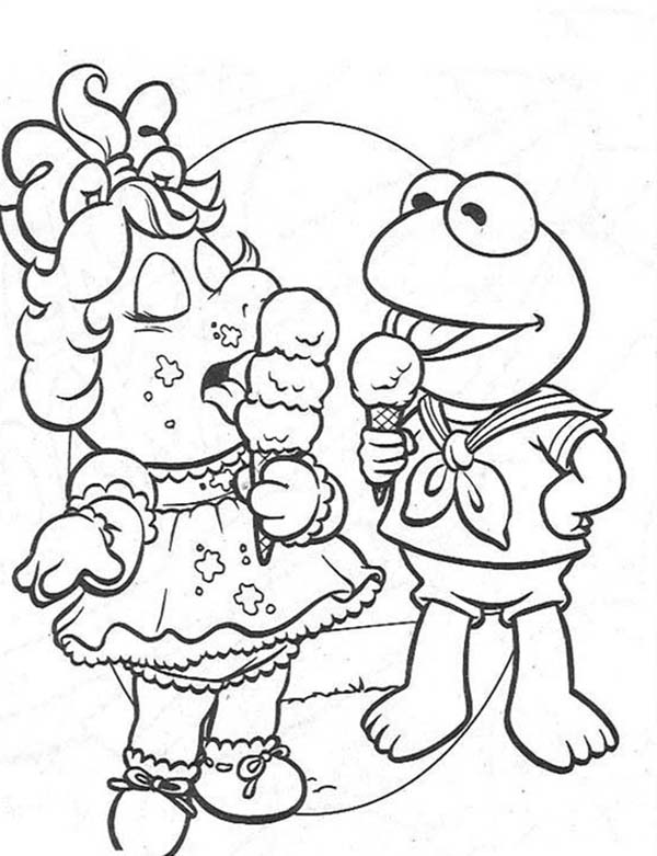 The Muppets, : The The Muppets Babies Miss Piggy and Little Kermit Eat Ice Cream Coloring Pages