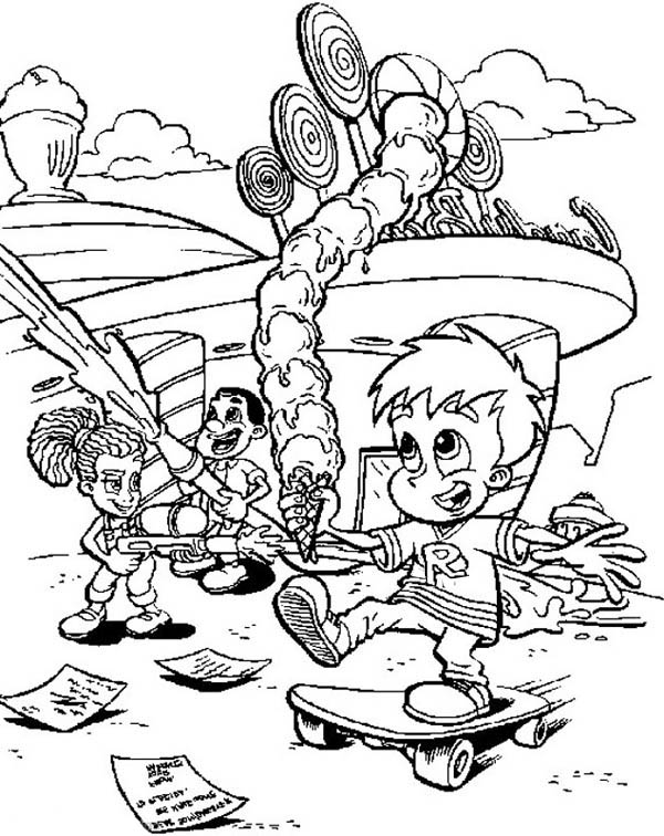 Jimmy Neutron, : The Town is Full of Candy and Ice Cream Jimmy Neutron Coloring Pages