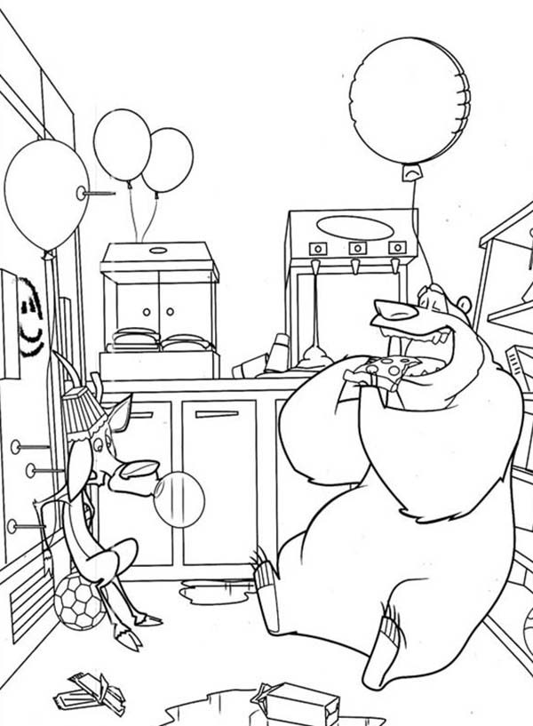 Oliver and Company, : This Roon was Messed Up by Boog and Elliot in in Open Season Coloring Pages