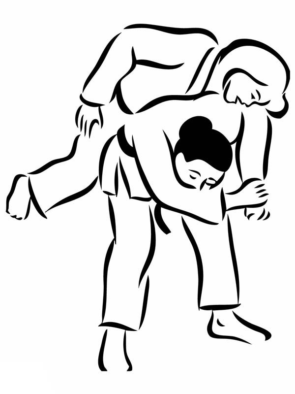 Judo, : Throwing Opponent in Judo Coloring Pages