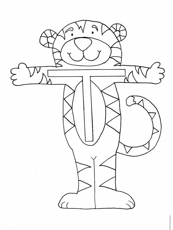 Letter T, : Tiger is for Letter T in Winnie the Pooh Coloring Page
