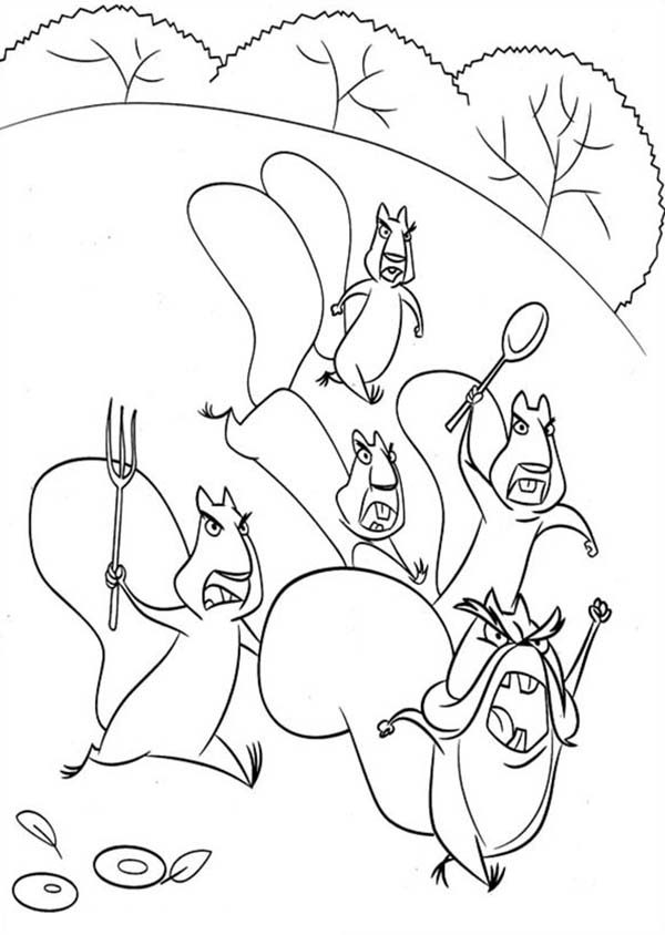 Oliver and Company, : Timber National Forest Animals Protesting in Open Season Coloring Pages