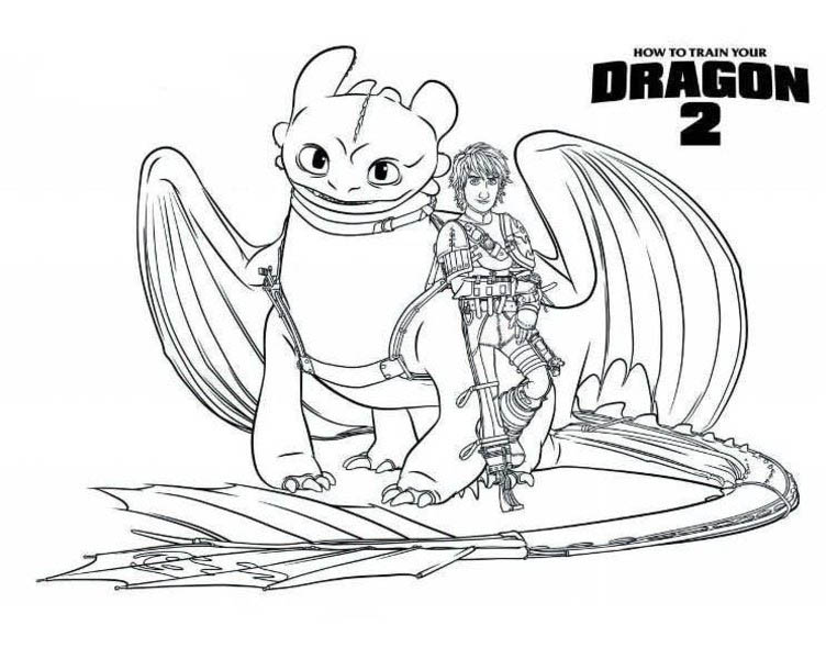 How to Train Your Dragon, : Toothless and Hiccup are Bestfriends in How to Train Your Dragon Coloring Pages