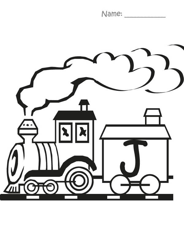 Letter J, : Train Carry Letter J Coloring Page