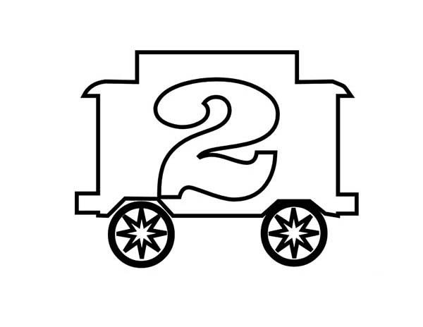 Number 2, : Train Number 2 Coloring Page