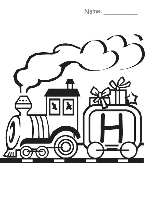 Letter H, : Train and Letter H Coloring Page