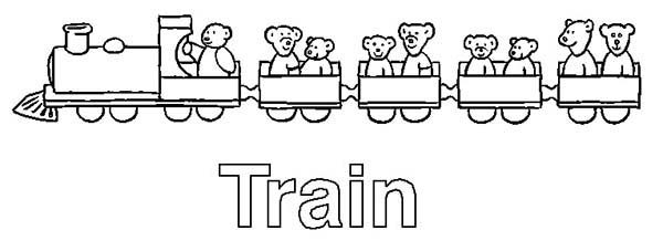 Letter T, : Train is for Letter T Coloring Page
