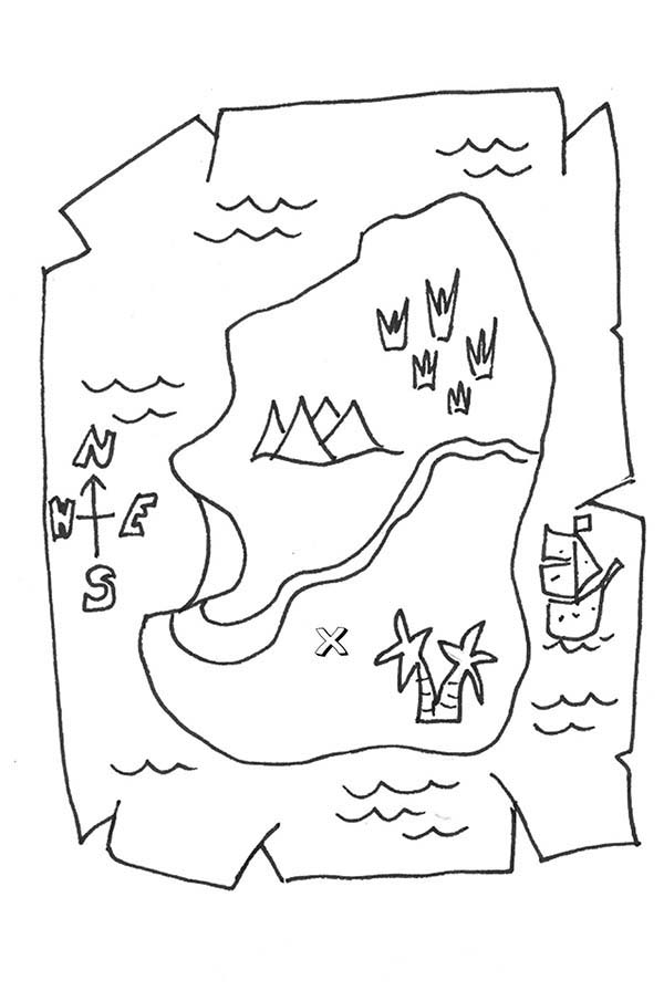 Maps, : Treasure Maps Coloring Pages for Kids