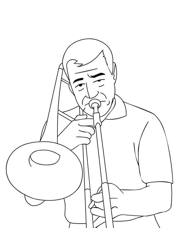 Musical Instruments, : Trombone is a Musical Instruments Coloring Pages 2