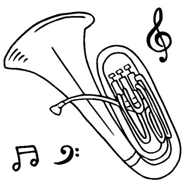 Musical Instruments, : Tuba is a Musical Instruments Coloring Pages