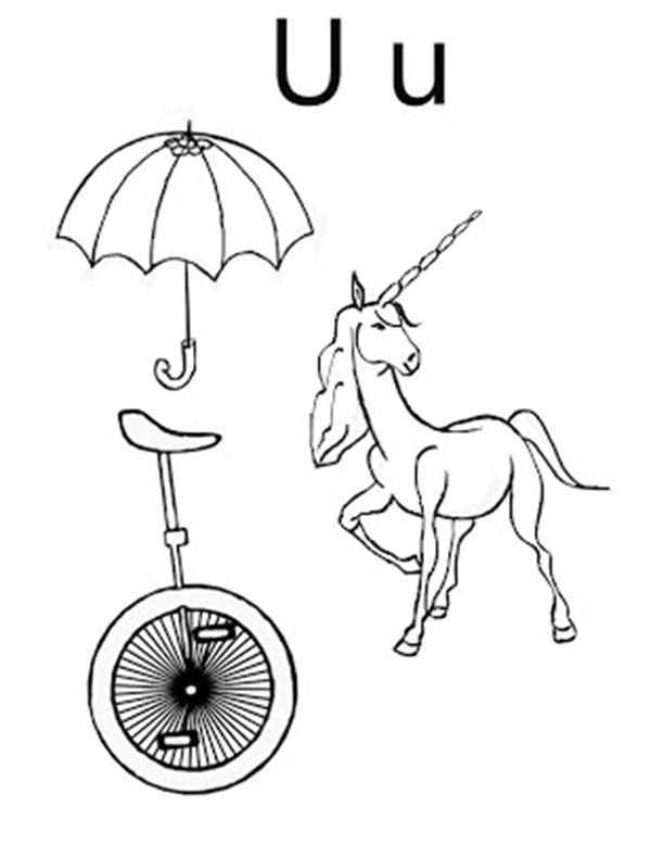 Letter U, : Umbrella Unicycle and Unicorn for Letter U Coloring Page