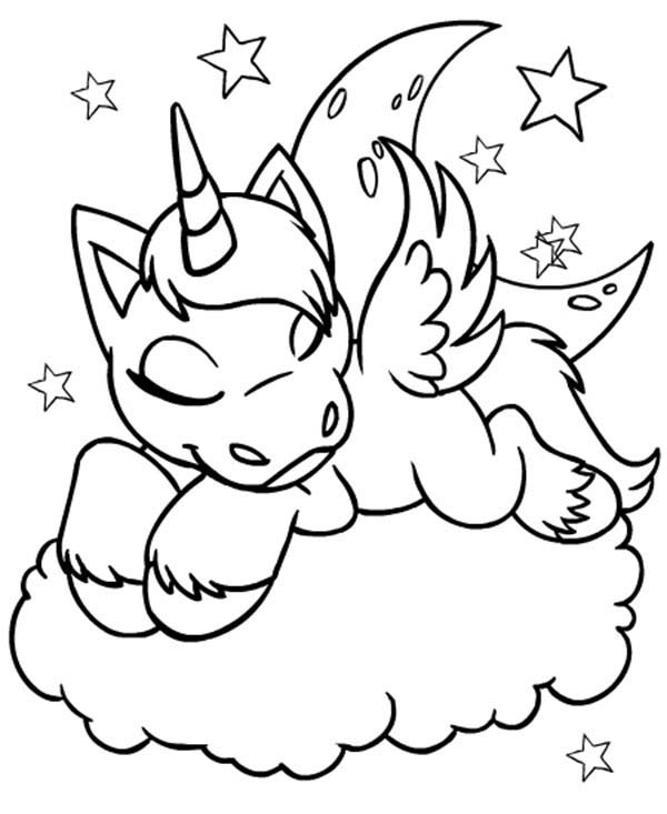 Neopets, : Uni from Neopets is Sleeping on a Cloud Coloring Pages