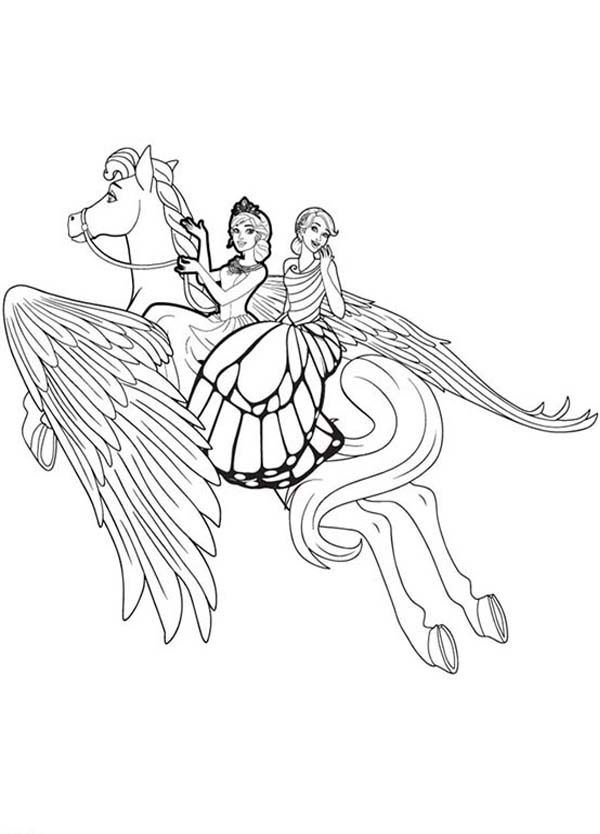 Barbie Mariposa, : Unicorn Flying High Barbie Mariposa Coloring Pages