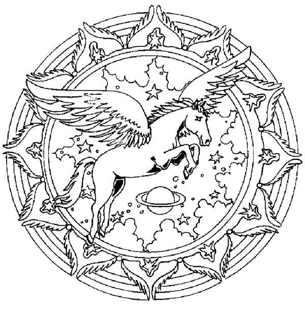 Mandala Animal, : Unicorn Mandala Animal Coloring Pages