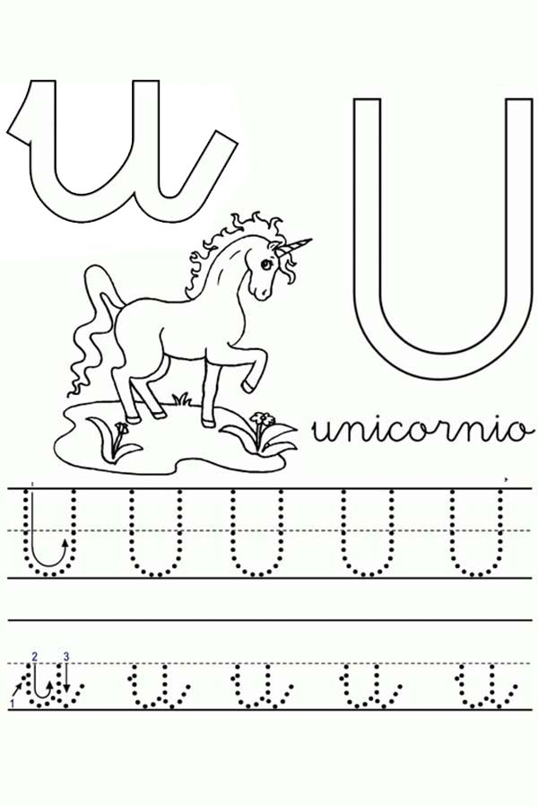 Unicorn Worksheet In Learning Letter U Coloring Page Bulk Color