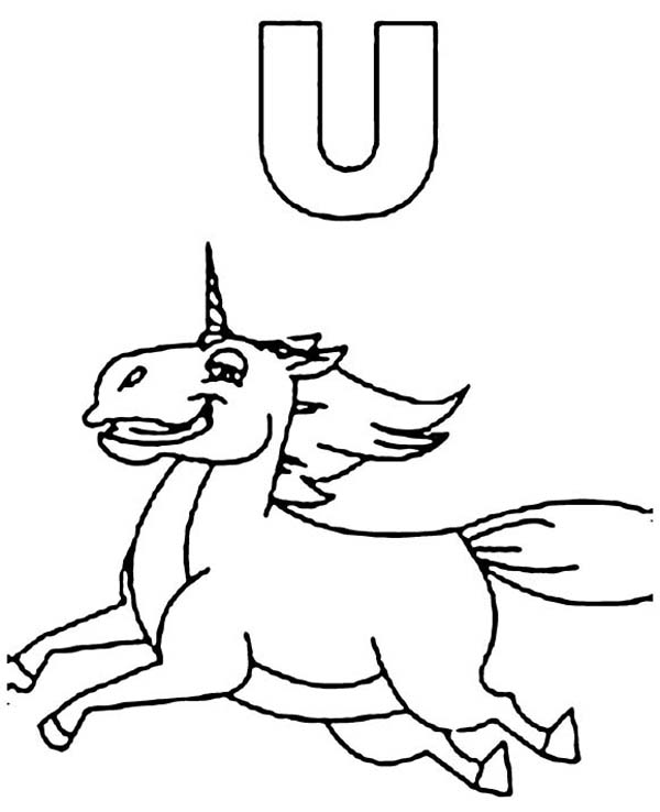 Letter U, : Unicorn is for Learn Letter U Coloring Page
