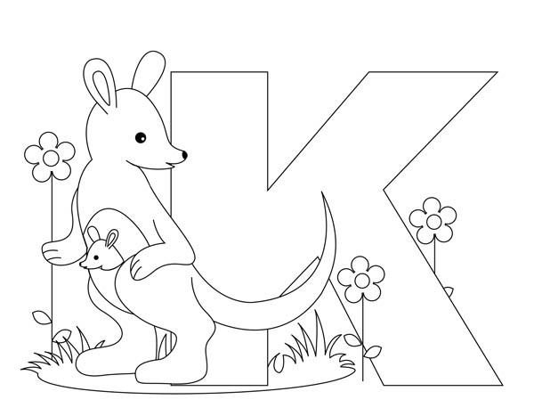 Letter K, : Upper Case Letter K for Kangaroo Coloring Page