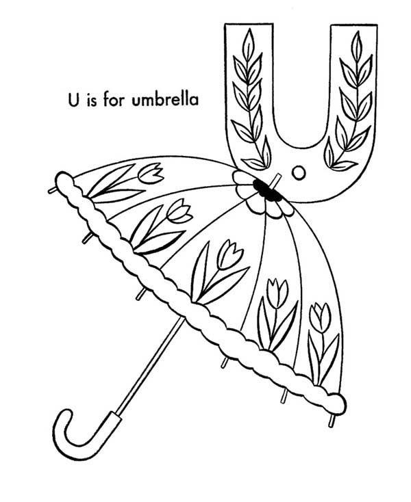 Letter U, : Upper Case Letter U for Umbrella Coloring Page
