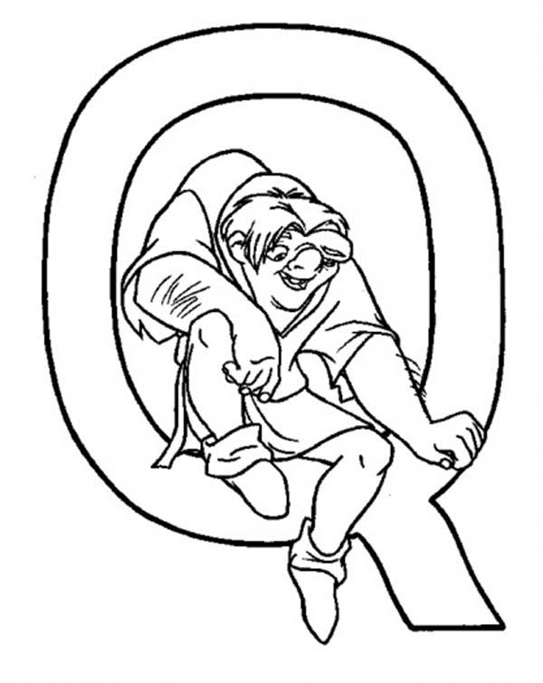 Letter Q, : Upper Case Letter for Quasimodo Q Coloring Page