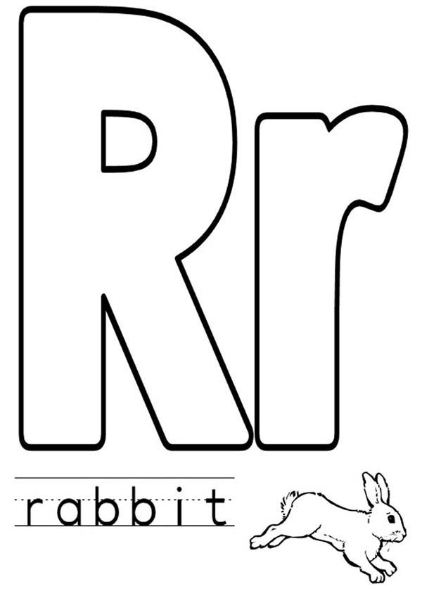 Letter R, : Upper Case and Lower Case Letter R Coloring Page for Preschool Kids